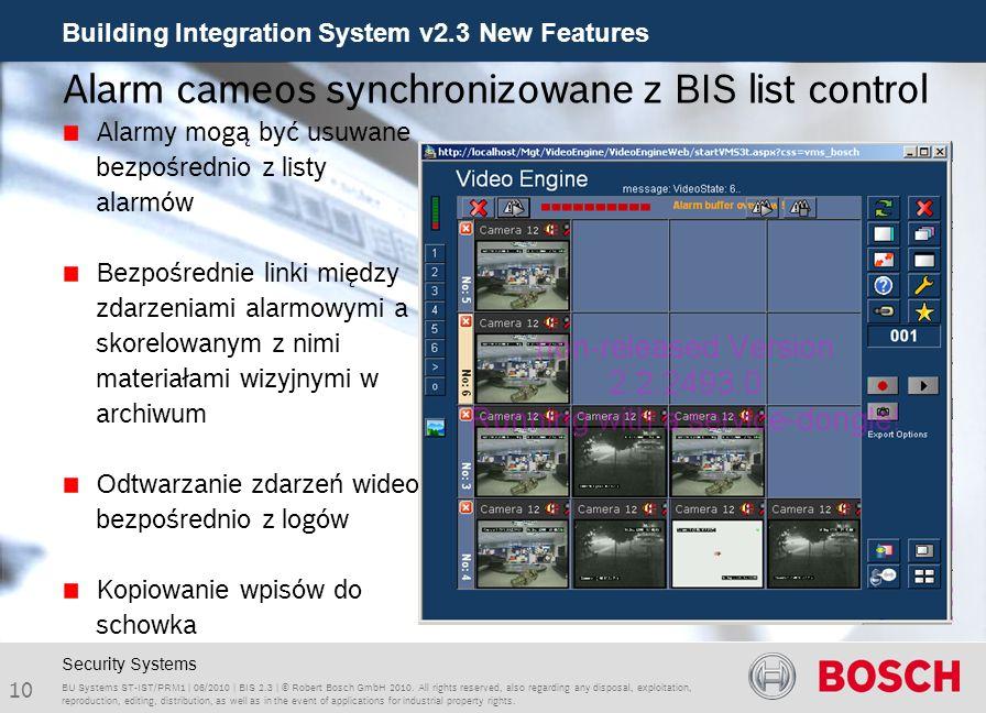 Alarm cameos synchronizowane z BIS list control