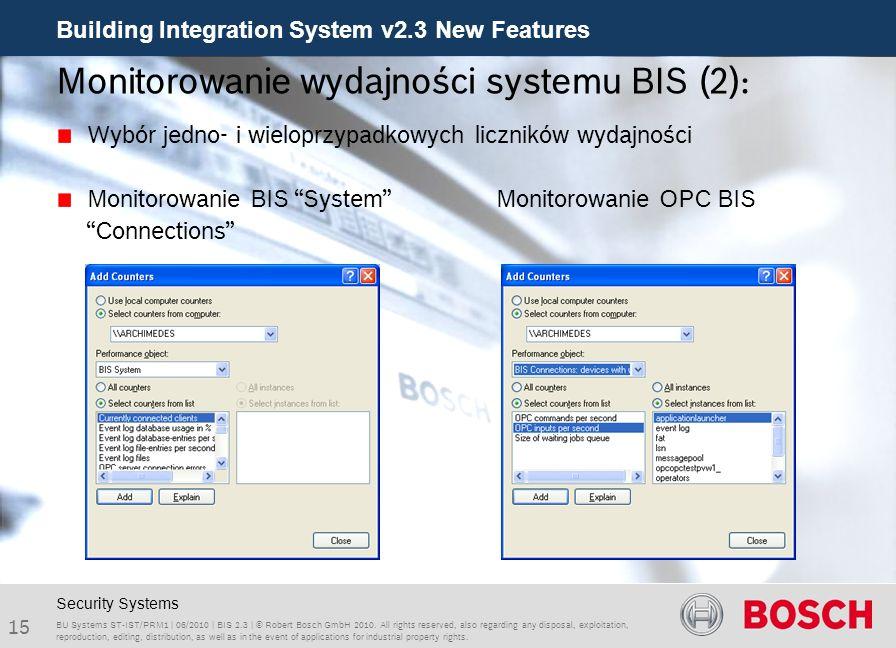 Monitorowanie wydajności systemu BIS (2):