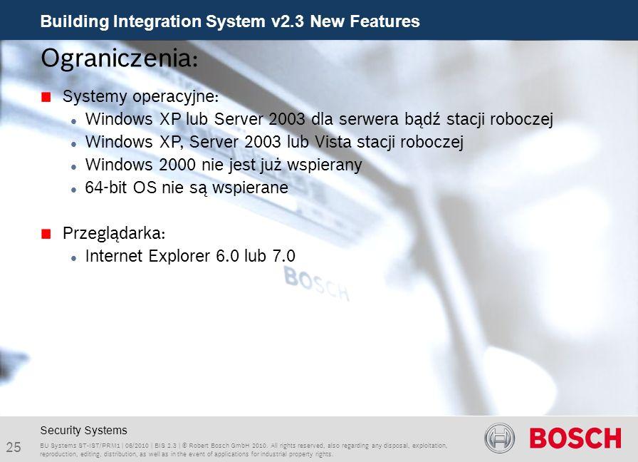 Ograniczenia: Systemy operacyjne: