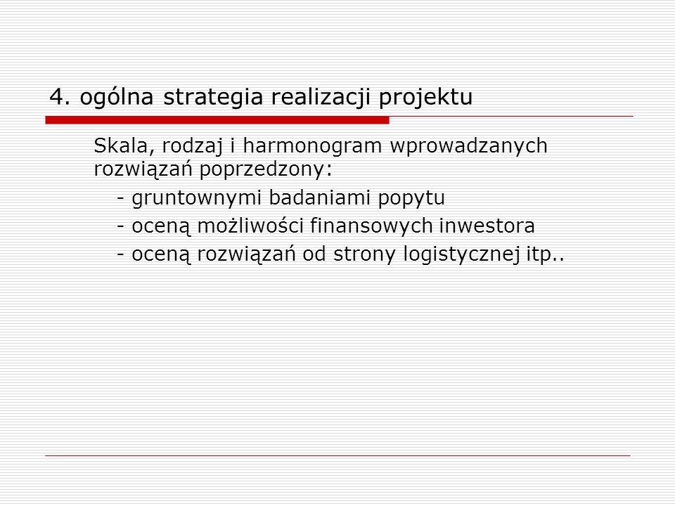 4. ogólna strategia realizacji projektu