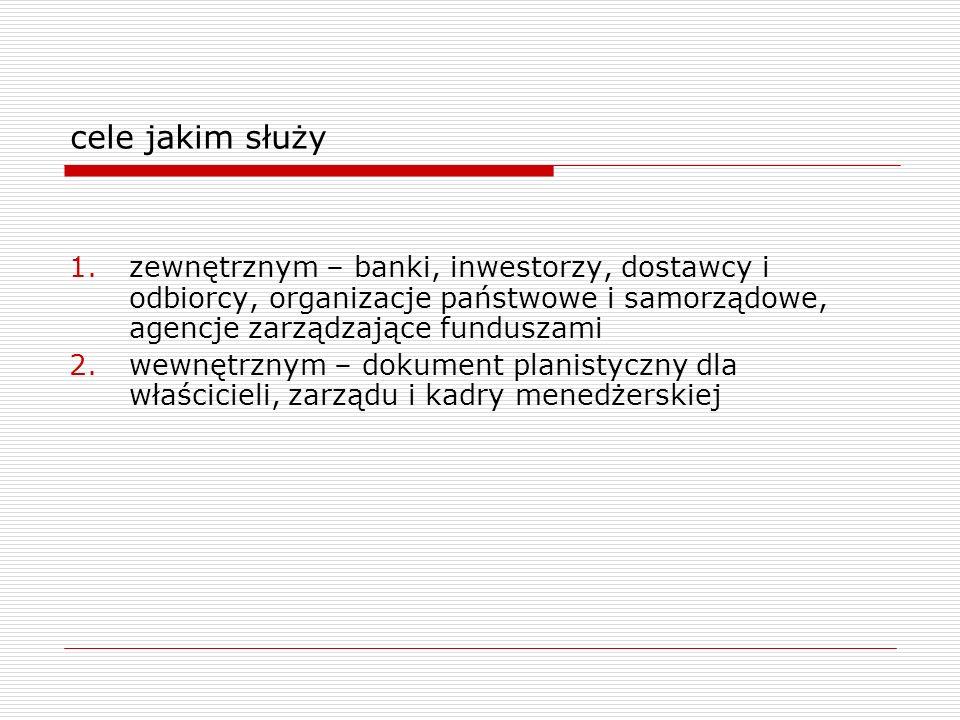 cele jakim służy zewnętrznym – banki, inwestorzy, dostawcy i odbiorcy, organizacje państwowe i samorządowe, agencje zarządzające funduszami.