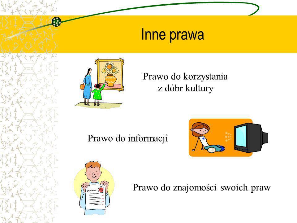 Inne prawa Prawo do korzystania z dóbr kultury Prawo do informacji