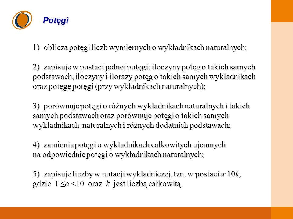 Potęgi 1) oblicza potęgi liczb wymiernych o wykładnikach naturalnych;