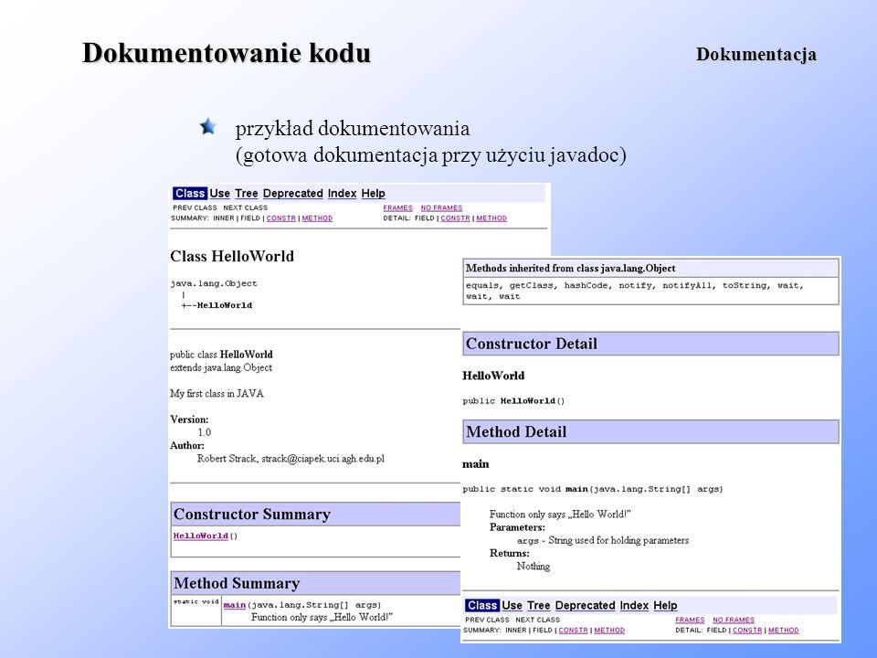 Dokumentowanie kodu przykład dokumentowania