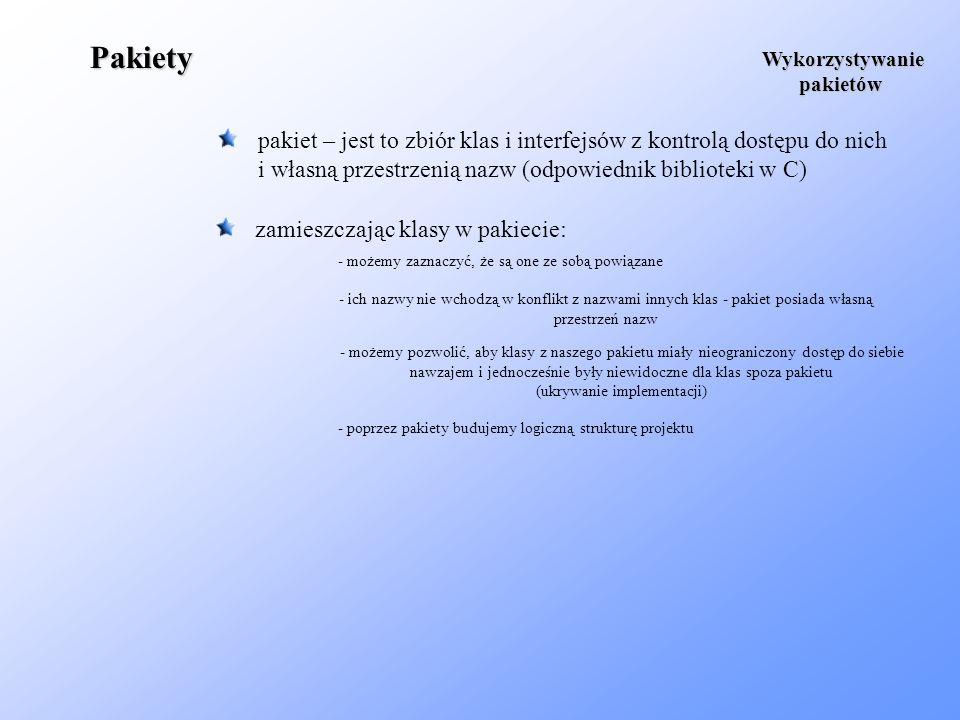 PakietyWykorzystywanie. pakietów. pakiet – jest to zbiór klas i interfejsów z kontrolą dostępu do nich.