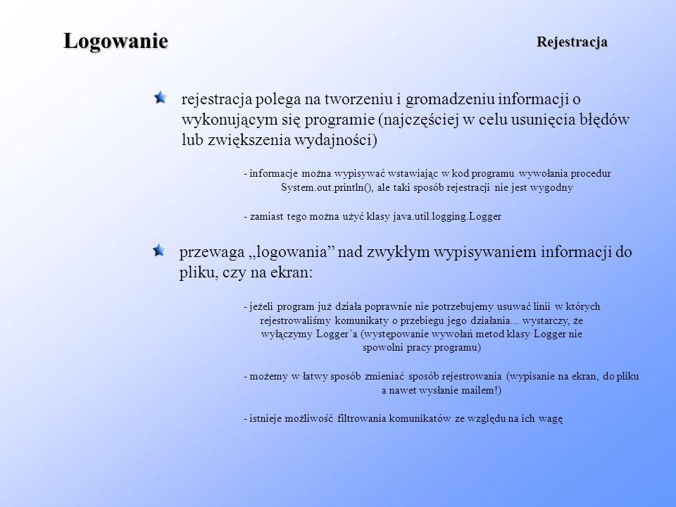 Logowanie Rejestracja. rejestracja polega na tworzeniu i gromadzeniu informacji o wykonującym się programie (najczęściej w celu usunięcia błędów.