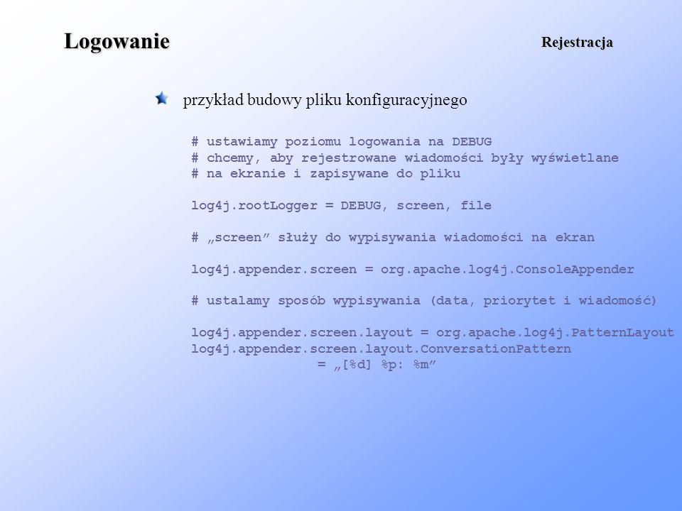 Logowanie przykład budowy pliku konfiguracyjnego Rejestracja