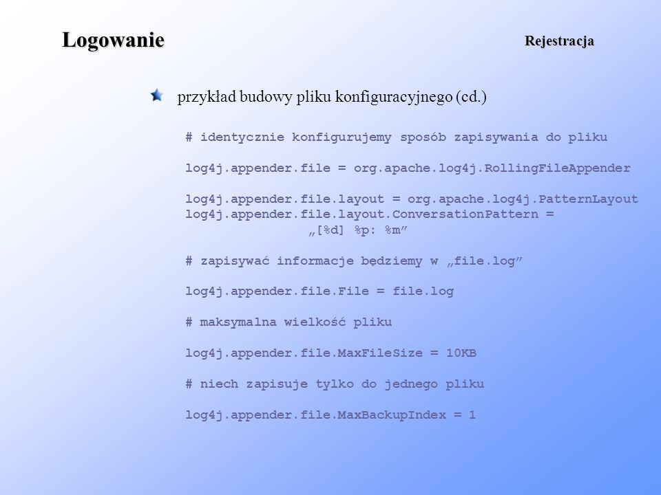 Logowanie przykład budowy pliku konfiguracyjnego (cd.) Rejestracja