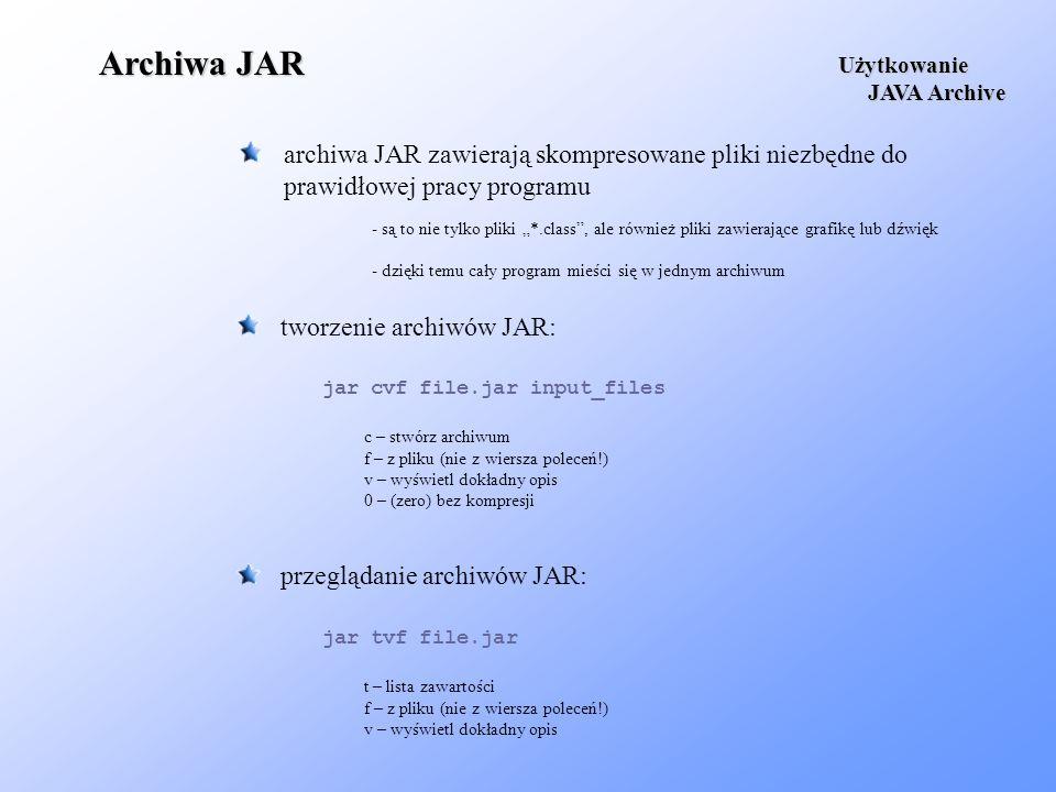 Archiwa JARUżytkowanie. JAVA Archive. archiwa JAR zawierają skompresowane pliki niezbędne do prawidłowej pracy programu.