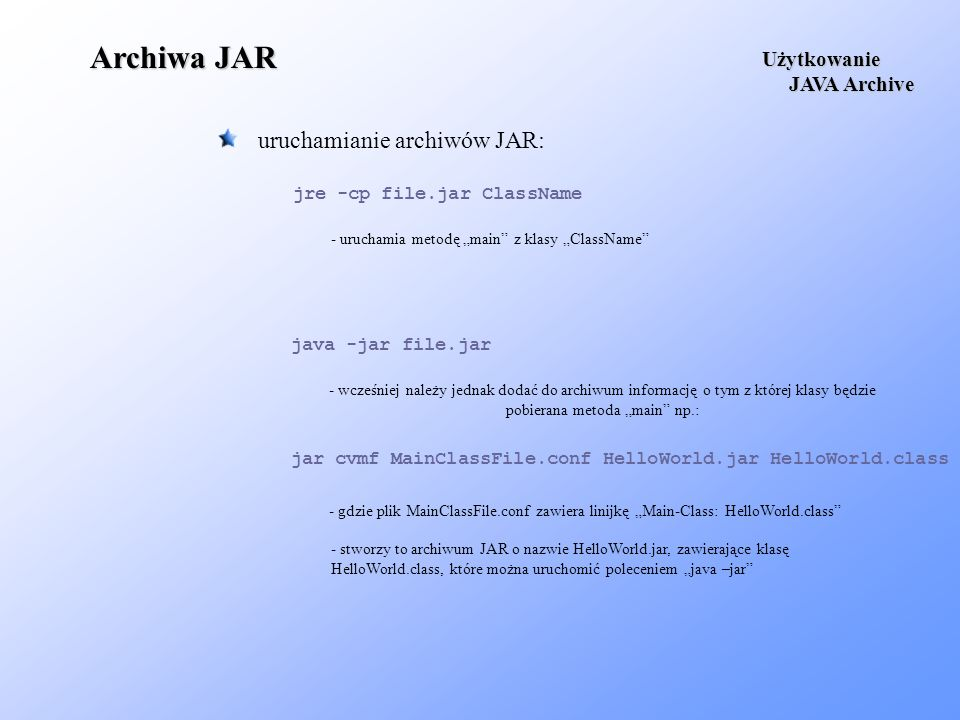 Archiwa JAR uruchamianie archiwów JAR: Użytkowanie JAVA Archive