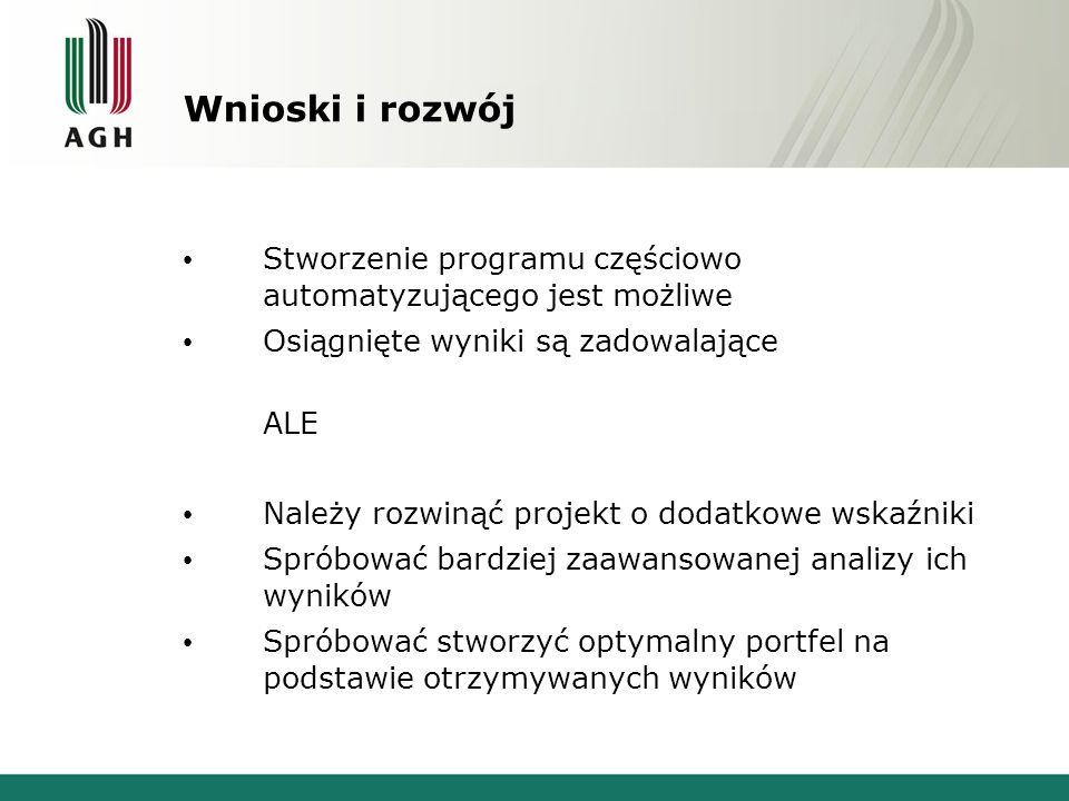 Wnioski i rozwój Stworzenie programu częściowo automatyzującego jest możliwe. Osiągnięte wyniki są zadowalające.