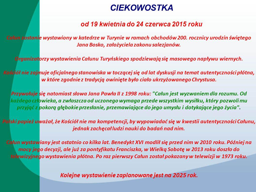 CIEKOWOSTKA od 19 kwietnia do 24 czerwca 2015 roku