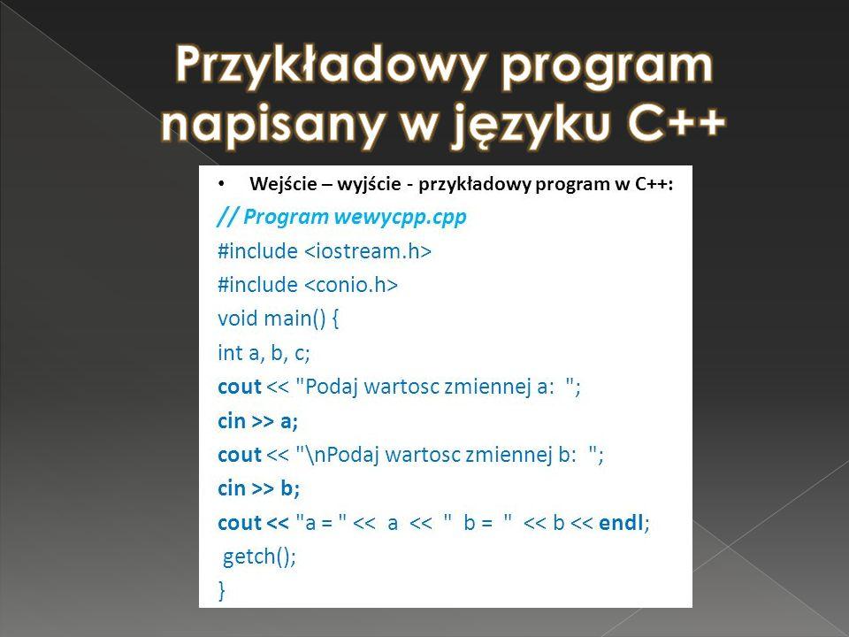Przykładowy program napisany w języku C++
