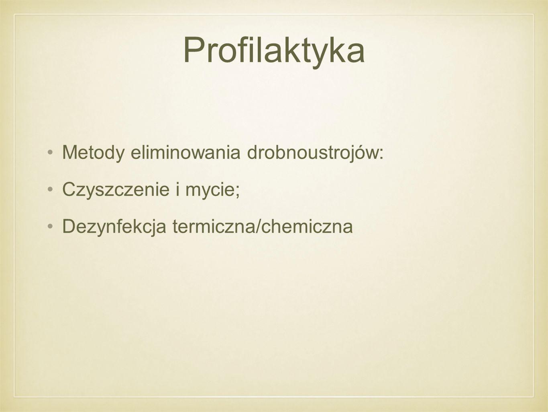 Profilaktyka Metody eliminowania drobnoustrojów: Czyszczenie i mycie;