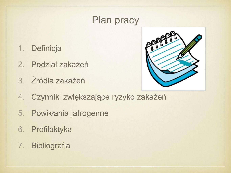 Plan pracy Definicja Podział zakażeń Źródła zakażeń