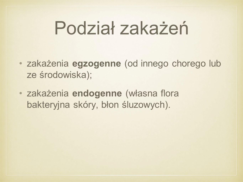 Podział zakażeń zakażenia egzogenne (od innego chorego lub ze środowiska); zakażenia endogenne (własna flora bakteryjna skóry, błon śluzowych).