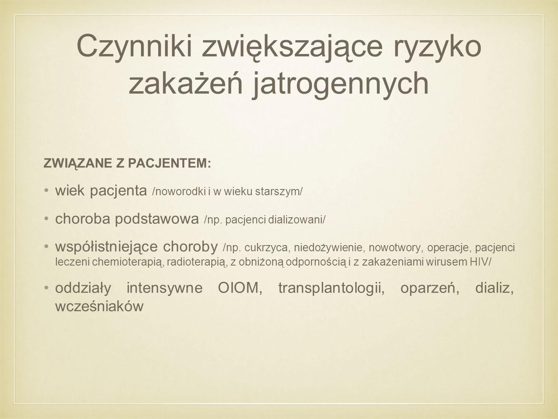 Czynniki zwiększające ryzyko zakażeń jatrogennych