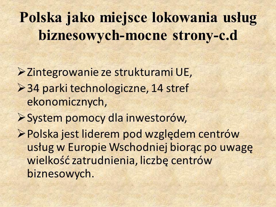 Polska jako miejsce lokowania usług biznesowych-mocne strony-c.d