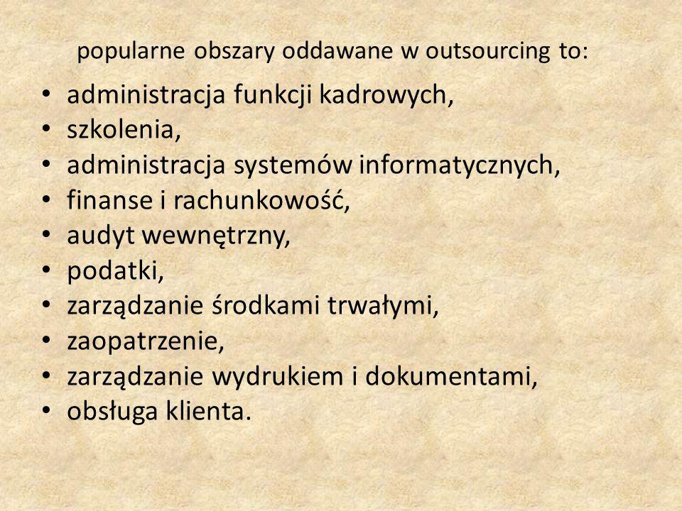 popularne obszary oddawane w outsourcing to:
