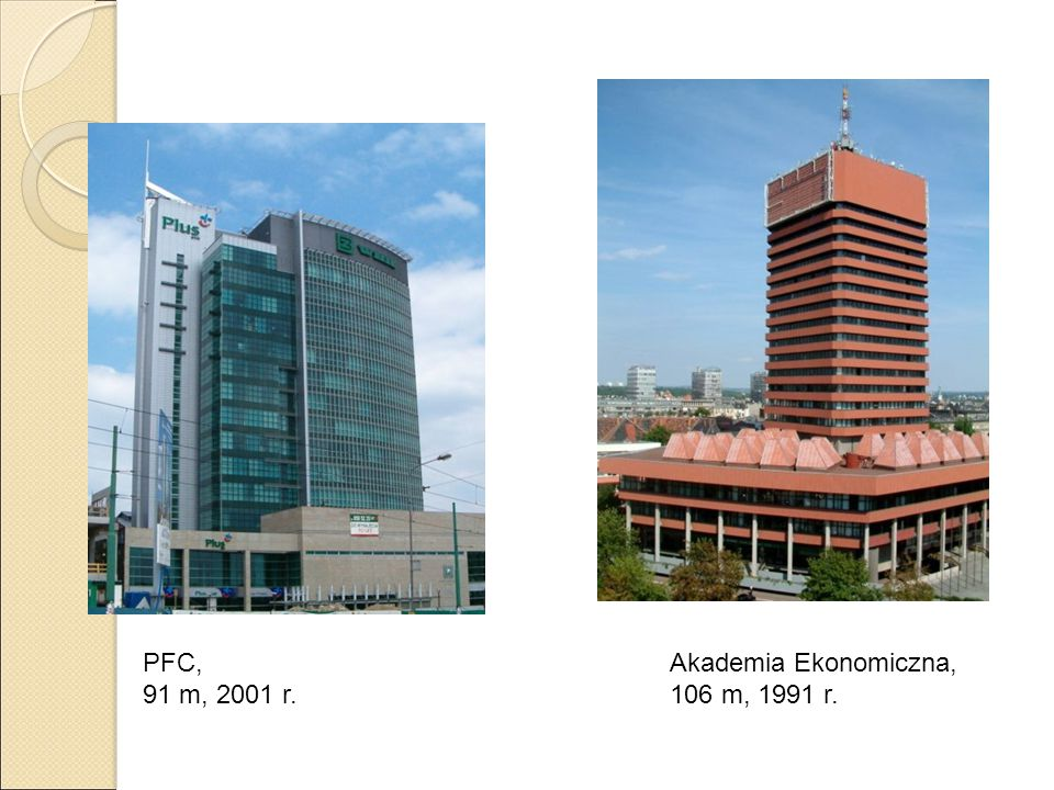 PFC, 91 m, 2001 r. Akademia Ekonomiczna, 106 m, 1991 r.