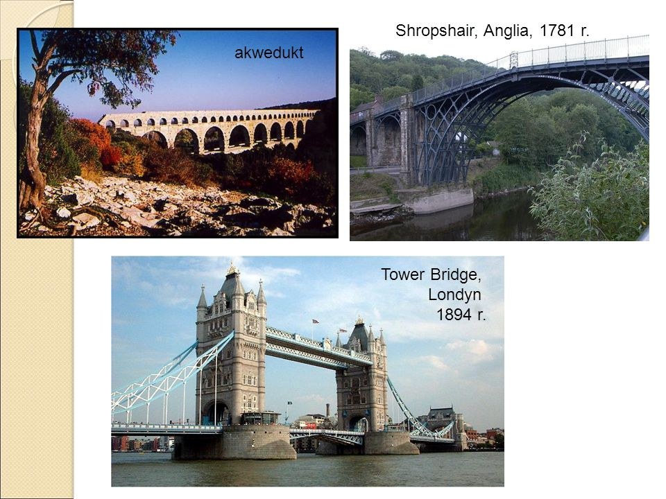 Shropshair, Anglia, 1781 r. akwedukt Tower Bridge, Londyn 1894 r.