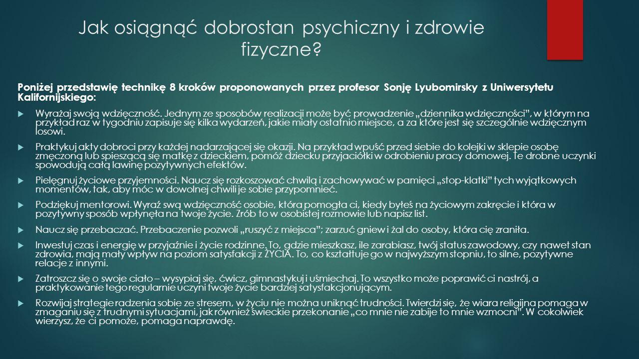 Jak osiągnąć dobrostan psychiczny i zdrowie fizyczne