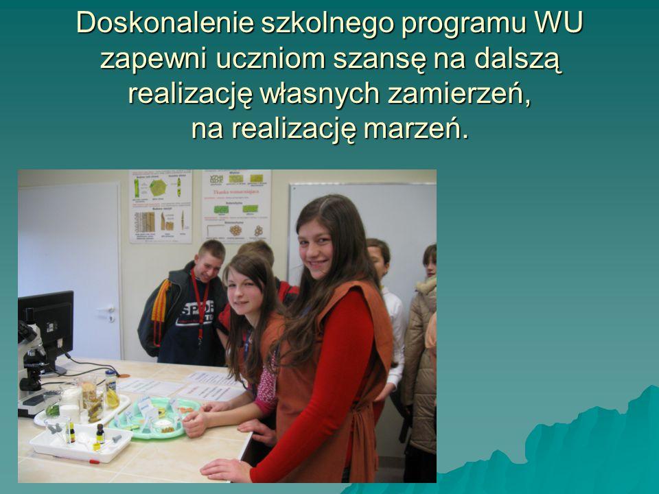 Doskonalenie szkolnego programu WU zapewni uczniom szansę na dalszą realizację własnych zamierzeń, na realizację marzeń.