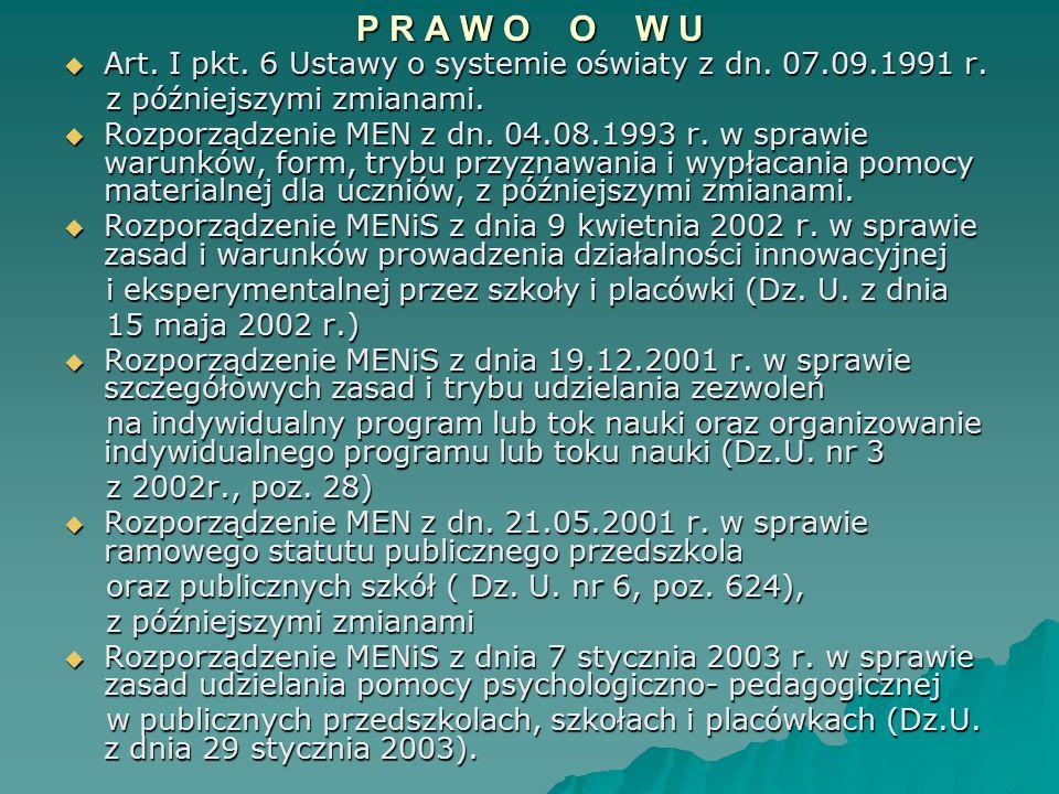 P R A W O O W U Art. I pkt. 6 Ustawy o systemie oświaty z dn. 07.09.1991 r. z późniejszymi zmianami.