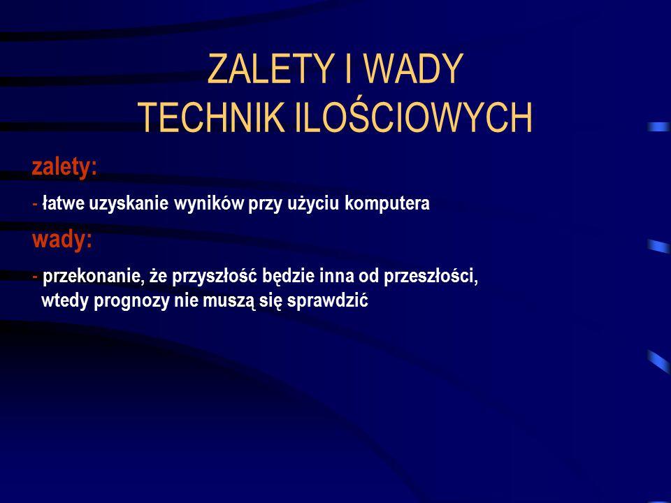 ZALETY I WADY TECHNIK ILOŚCIOWYCH