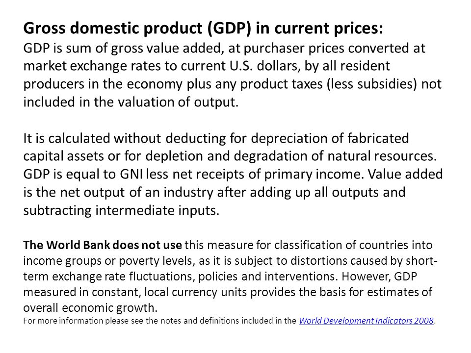Gross domestic product (GDP) in current prices: