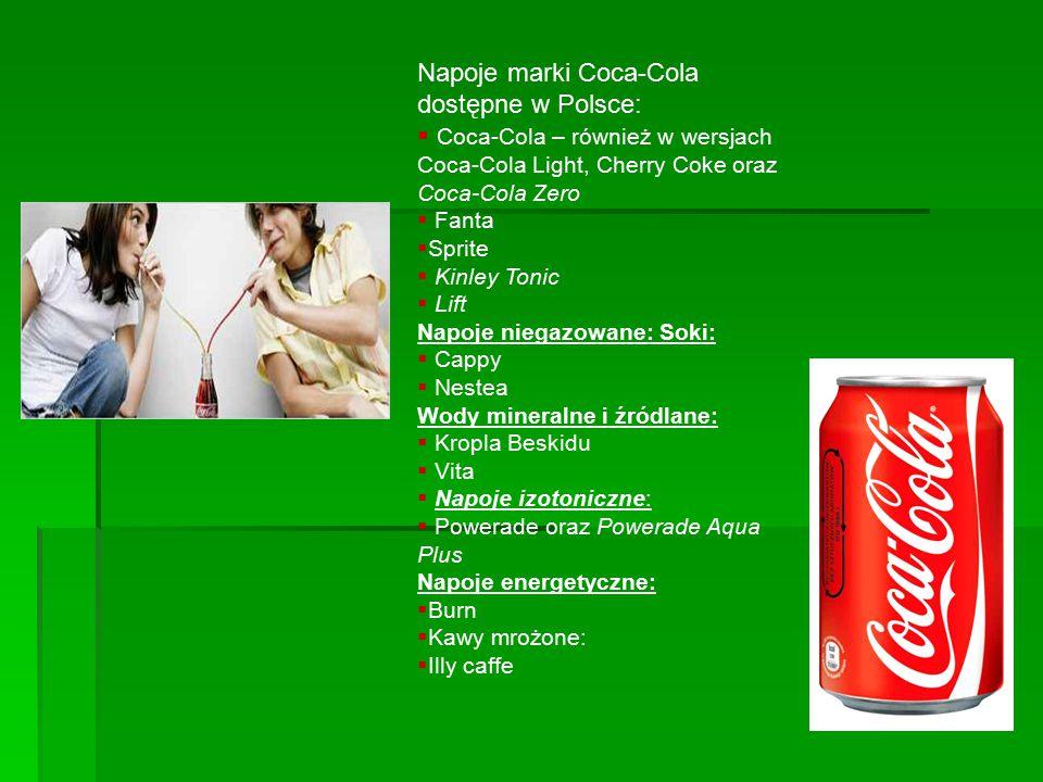 Napoje marki Coca-Cola dostępne w Polsce: