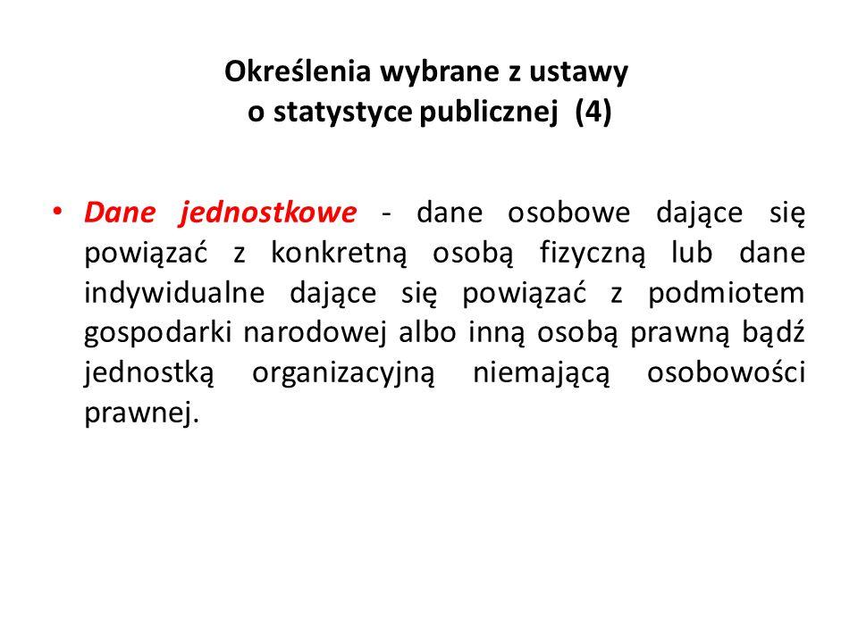 Określenia wybrane z ustawy o statystyce publicznej (4)