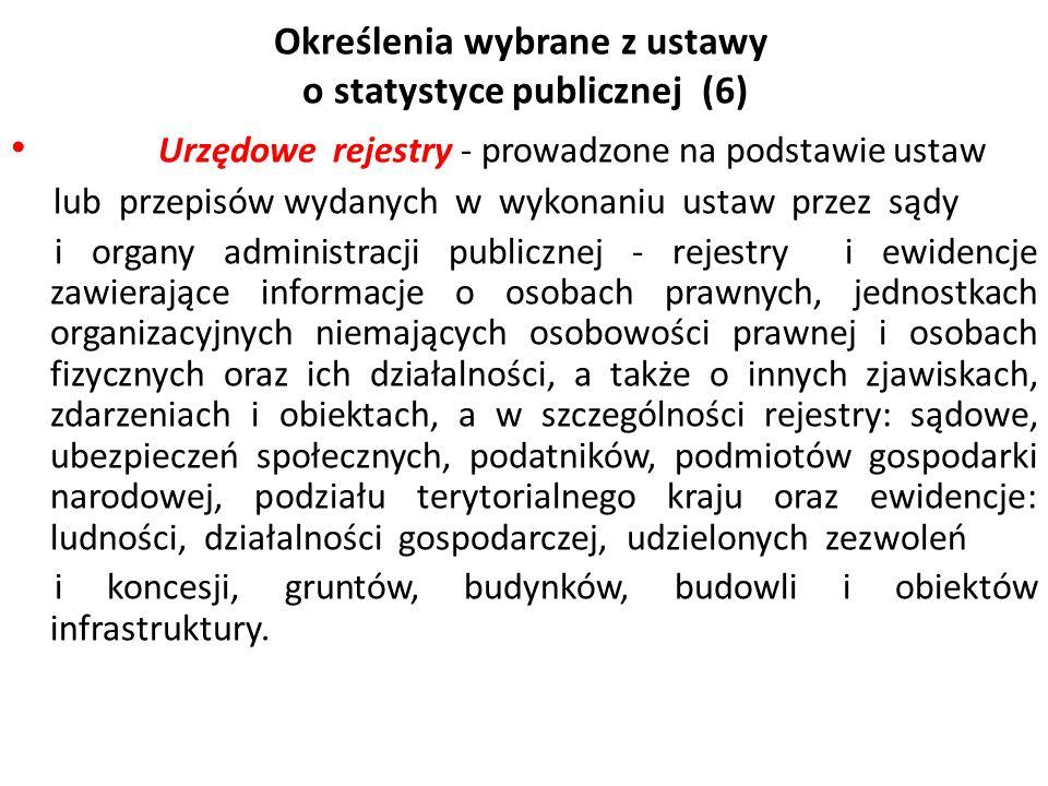 Określenia wybrane z ustawy o statystyce publicznej (6)