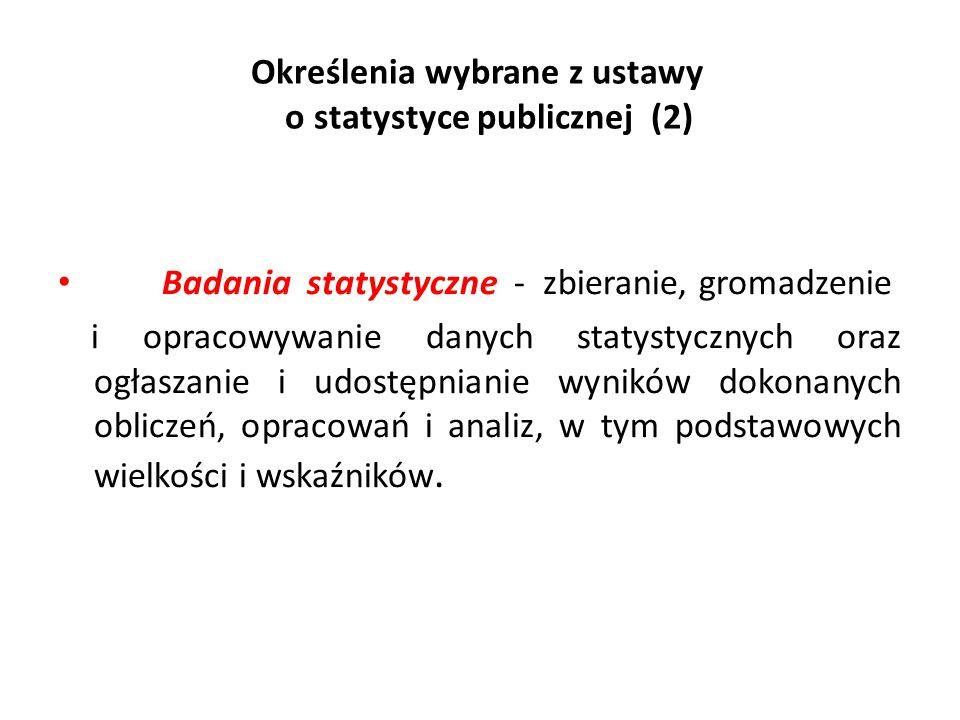 Określenia wybrane z ustawy o statystyce publicznej (2)