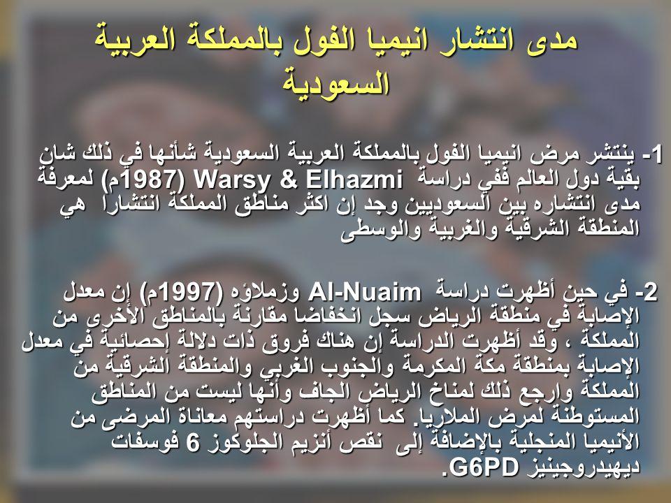 مدى انتشار انيميا الفول بالمملكة العربية السعودية