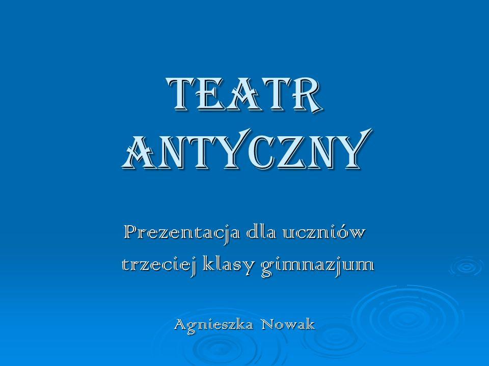 Prezentacja dla uczniów trzeciej klasy gimnazjum Agnieszka Nowak