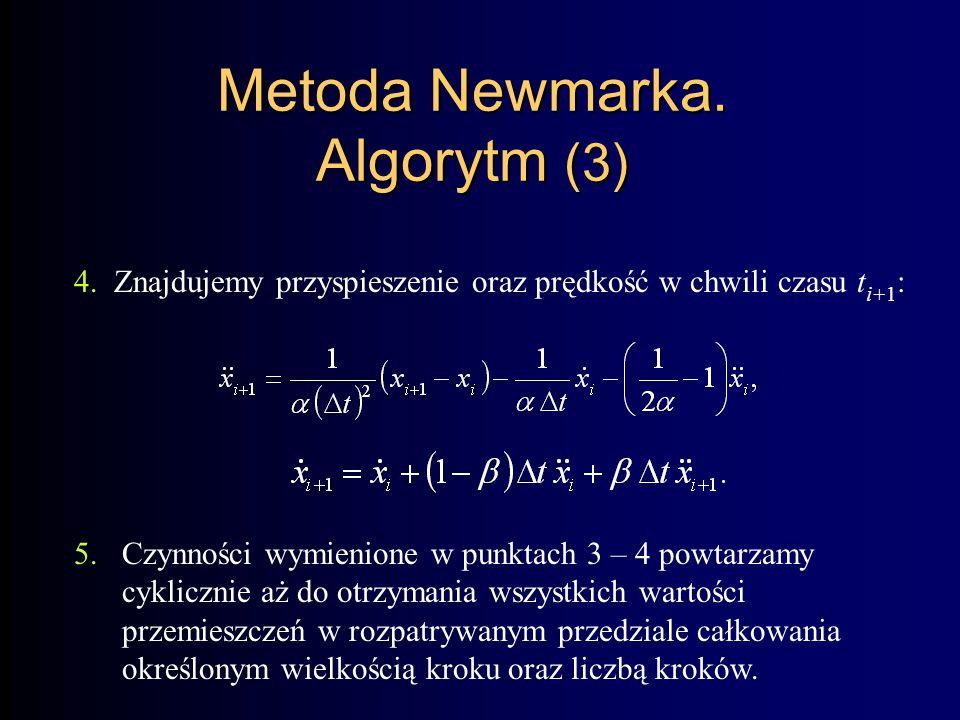 Metoda Newmarka. Algorytm (3)