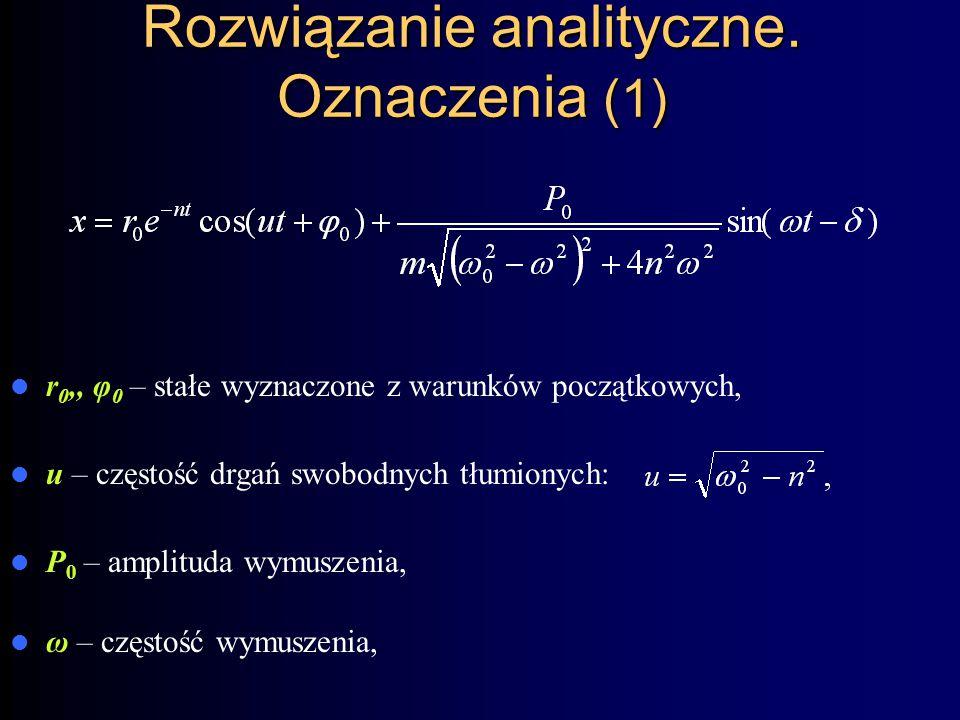 Rozwiązanie analityczne. Oznaczenia (1)