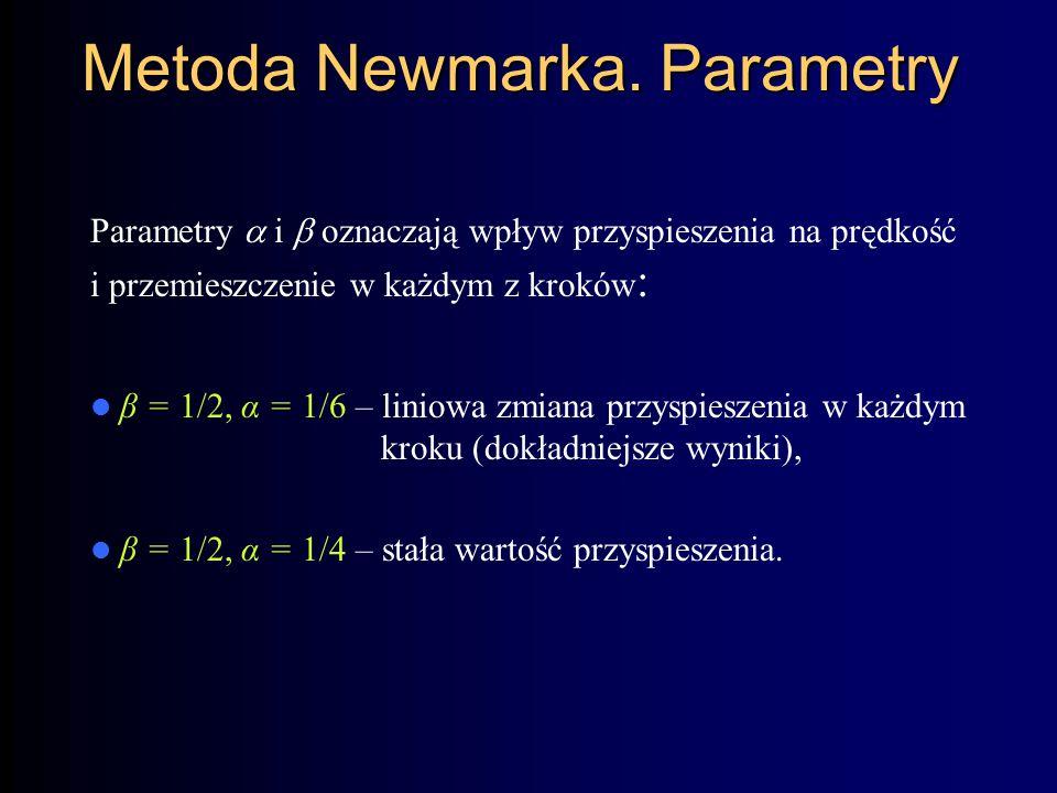 Metoda Newmarka. Parametry