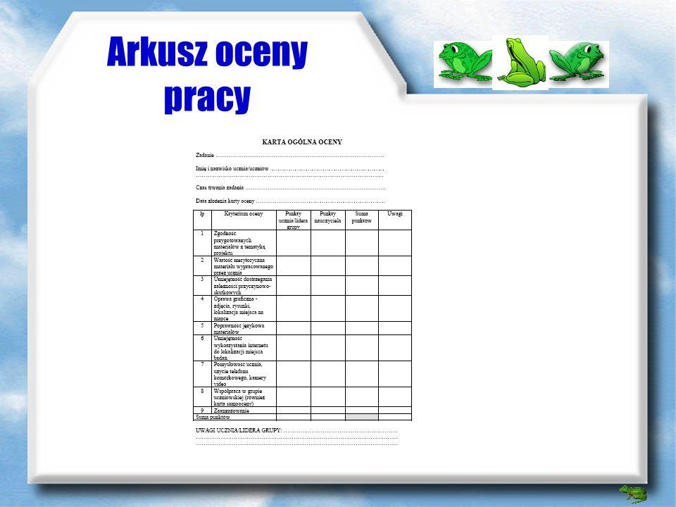 Arkusz oceny pracy