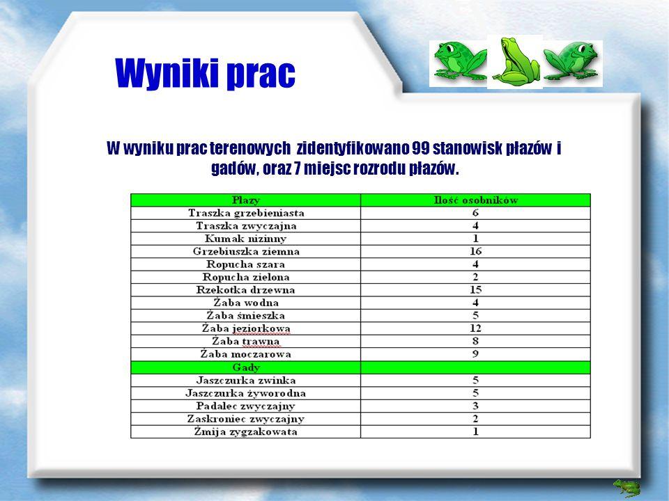 Wyniki prac W wyniku prac terenowych zidentyfikowano 99 stanowisk płazów i gadów, oraz 7 miejsc rozrodu płazów.