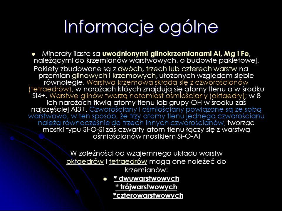 Informacje ogólne Minerały ilaste są uwodnionymi glinokrzemianami Al, Mg i Fe, należącymi do krzemianów warstwowych, o budowie pakietowej.