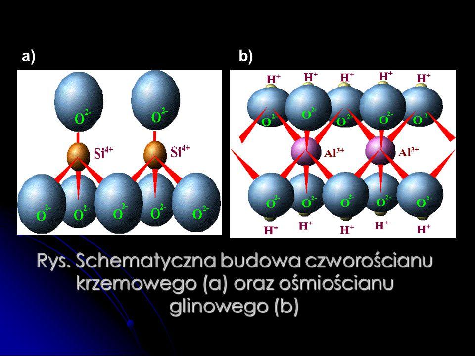 a) b) Rys. Schematyczna budowa czworościanu krzemowego (a) oraz ośmiościanu glinowego (b)