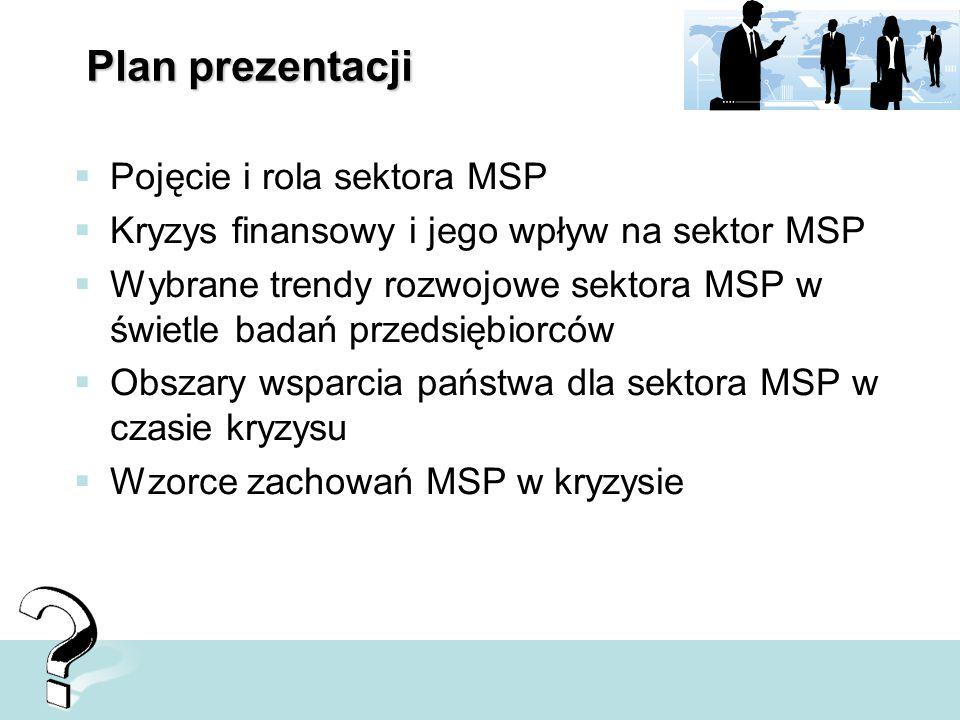 Plan prezentacji Pojęcie i rola sektora MSP