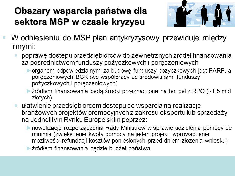 Obszary wsparcia państwa dla sektora MSP w czasie kryzysu