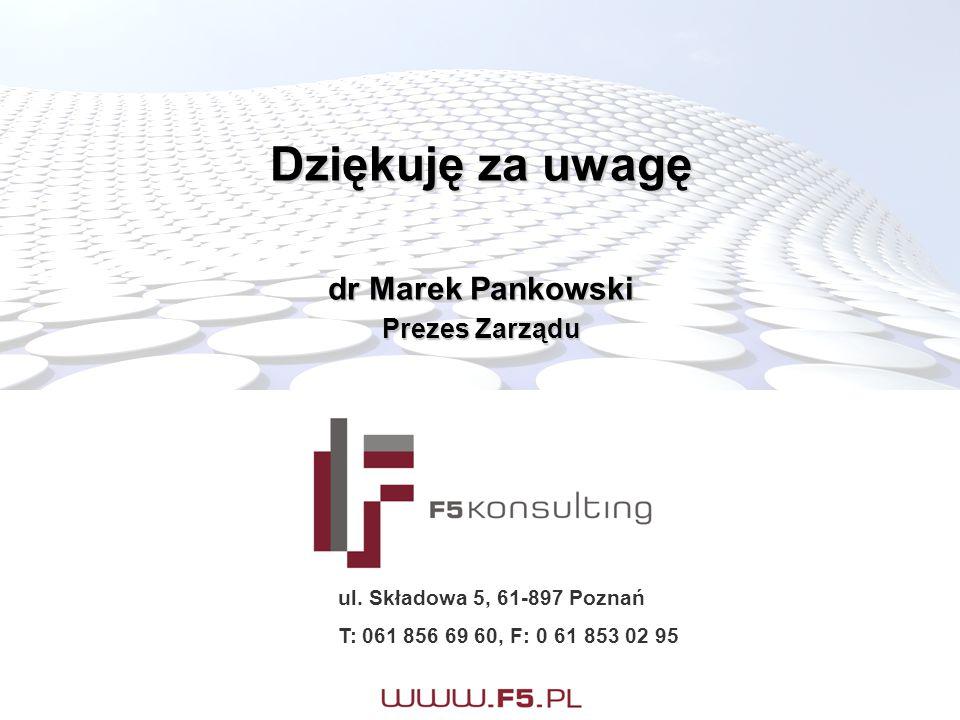 Dziękuję za uwagę dr Marek Pankowski Prezes Zarządu