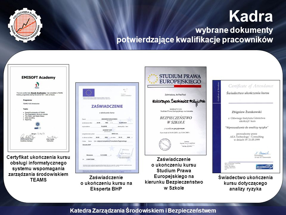 Kadra wybrane dokumenty potwierdzające kwalifikacje pracowników