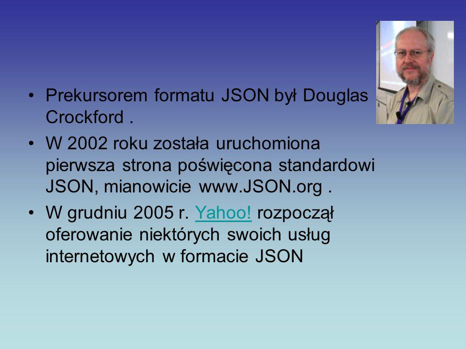 Prekursorem formatu JSON był Douglas Crockford .
