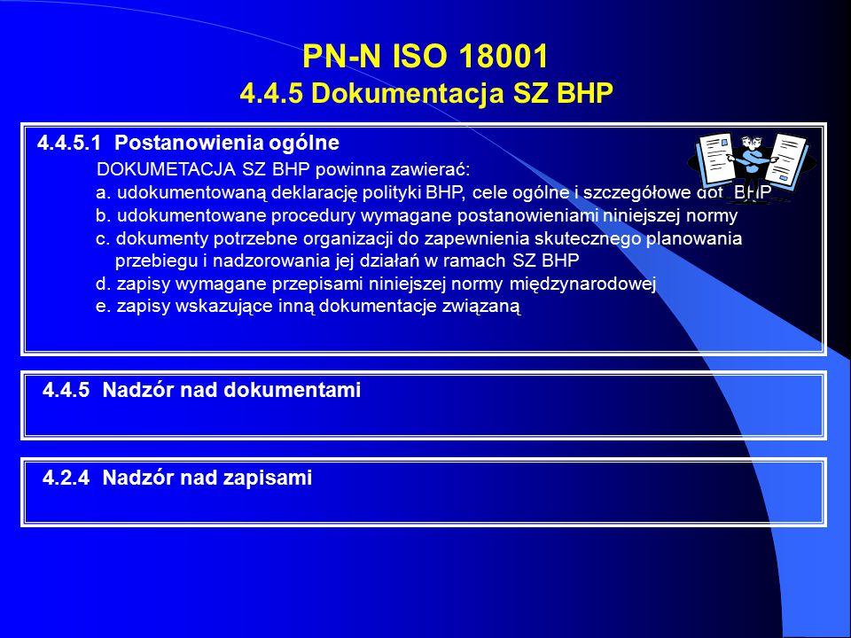 PN-N ISO 18001 4.4.5 Dokumentacja SZ BHP