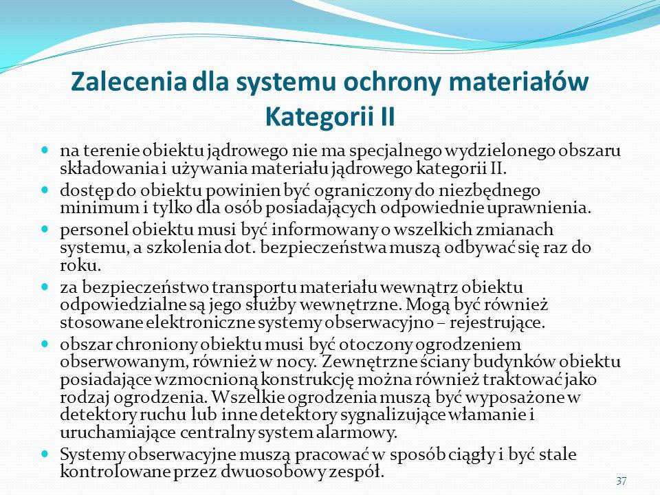 Zalecenia dla systemu ochrony materiałów Kategorii II